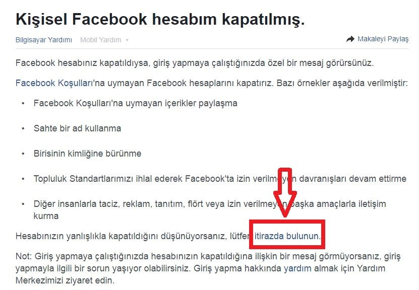 facebook hesabim kapatilmis