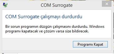 COM Surrogate Çalışmayı Durdurdu