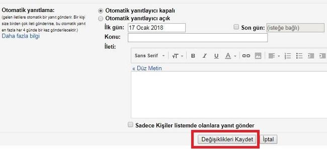 Gmail ayarlar