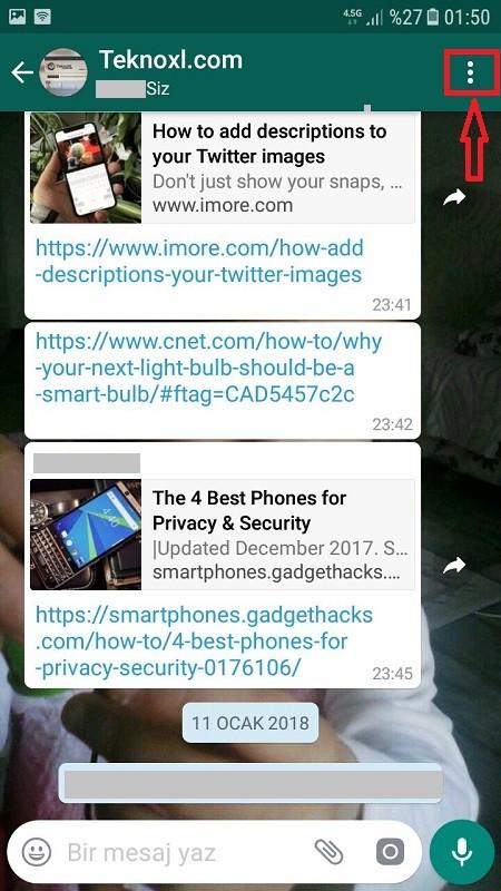 Whatsapp sohbet e-posta ile gonderme
