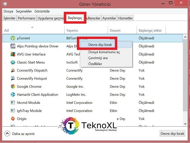Windows 10 Gorev Yoneticisi Baslangic