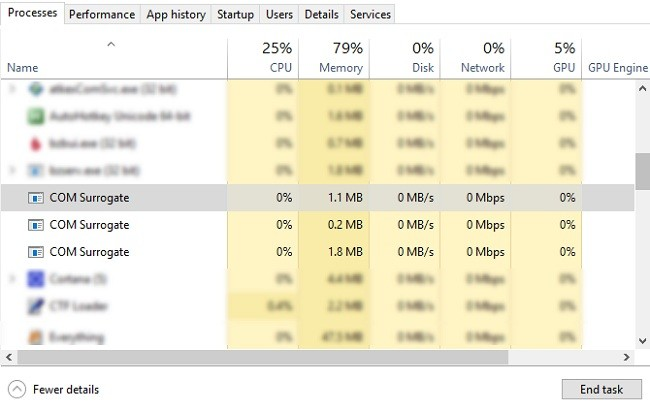 Windows Görev Yöneticisi Com Surrogate İşlemleri
