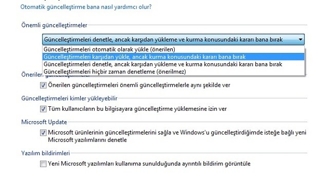 windows-update secenekleri