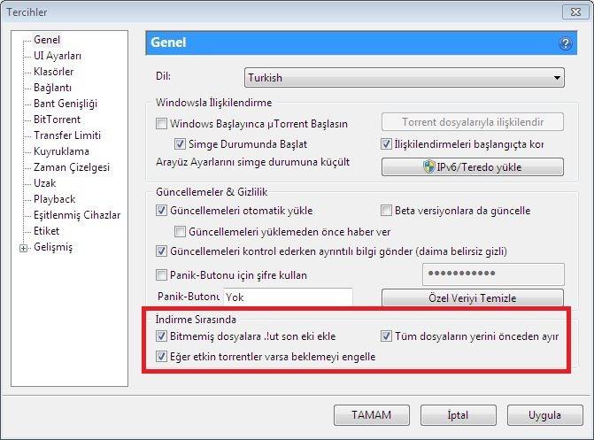 UTorrent Windows Güvenlik Duvarı