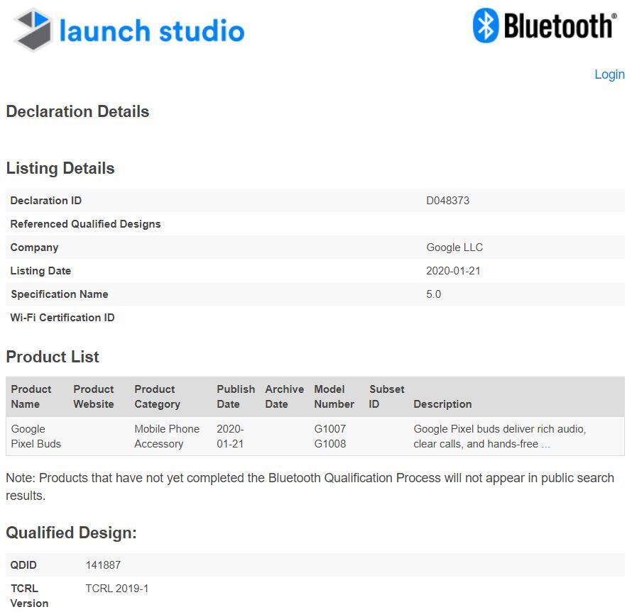 Google pixel buds 2 Bluetooth sertifikası