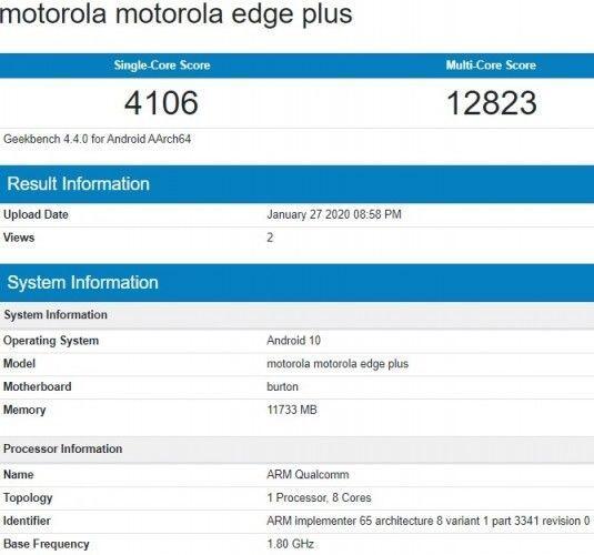Motorola Edge Plus Geekbench