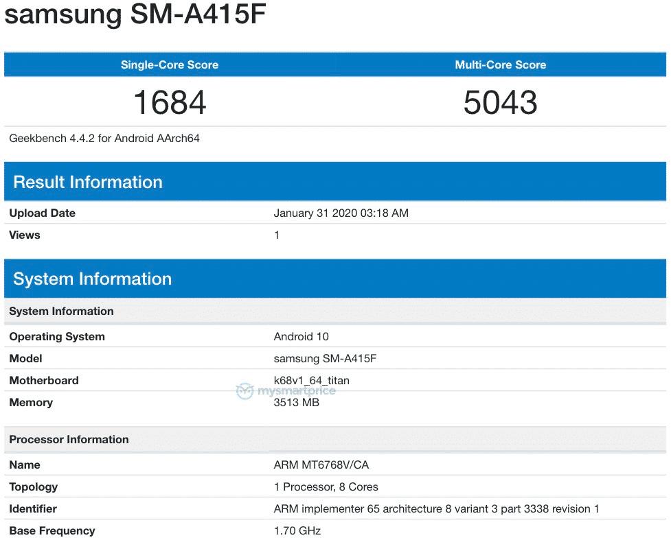 Samsung Galaxy A41 Geekbench
